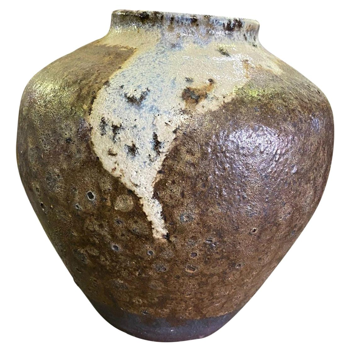 Mid Century Signed Lava Drip Crater Glaze Studio Pottery Vase