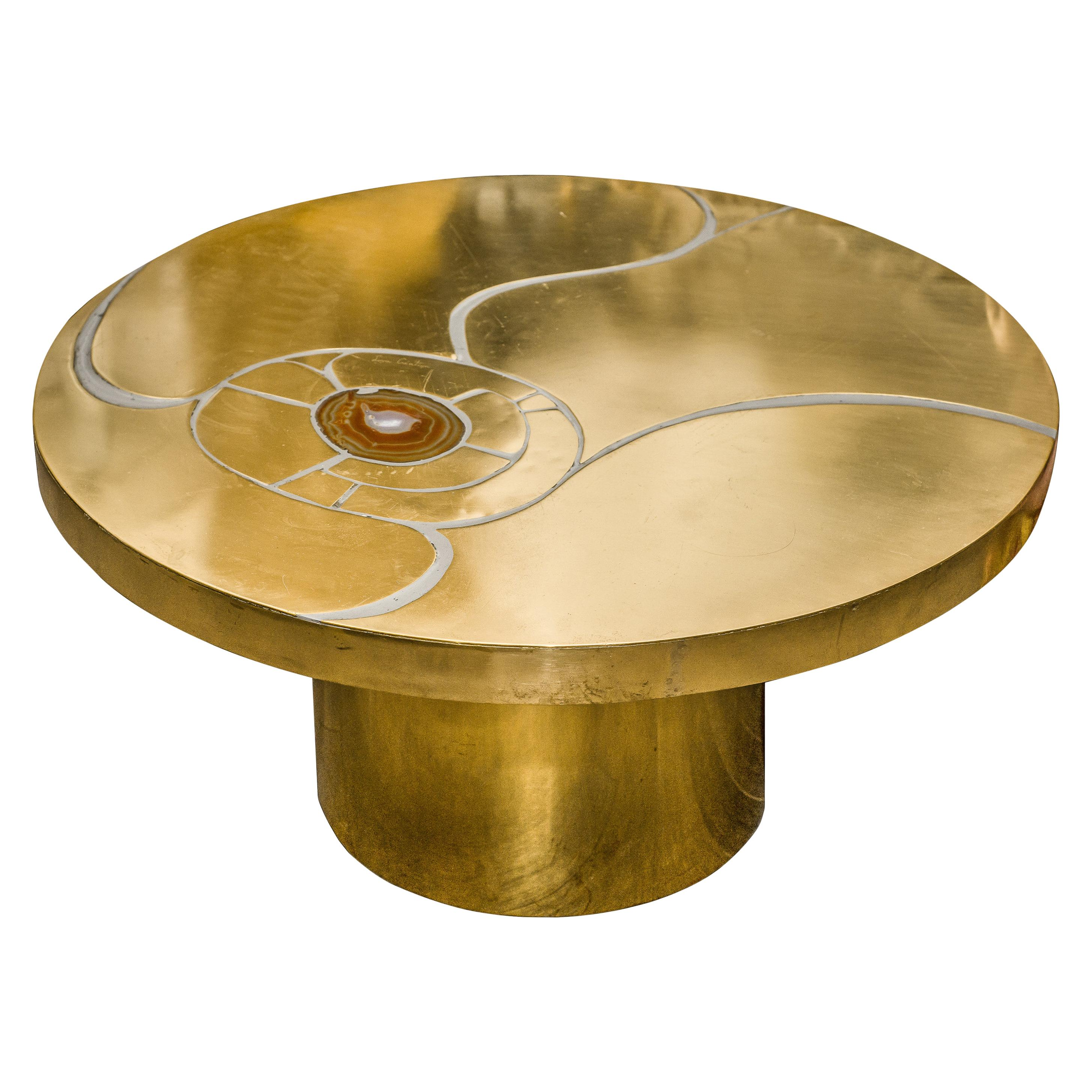 Midcentury Signed Lova Creation Brass and Agate Inlay Cocktail Table