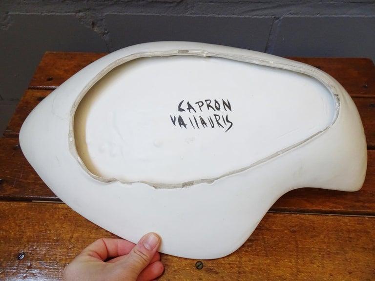 Midcentury Signed Roger Capron Ceramic Bowl, Center Piece, Vallauris, 1950s For Sale 3