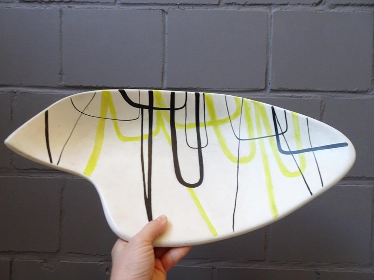 French Midcentury Signed Roger Capron Ceramic Bowl, Center Piece, Vallauris, 1950s For Sale