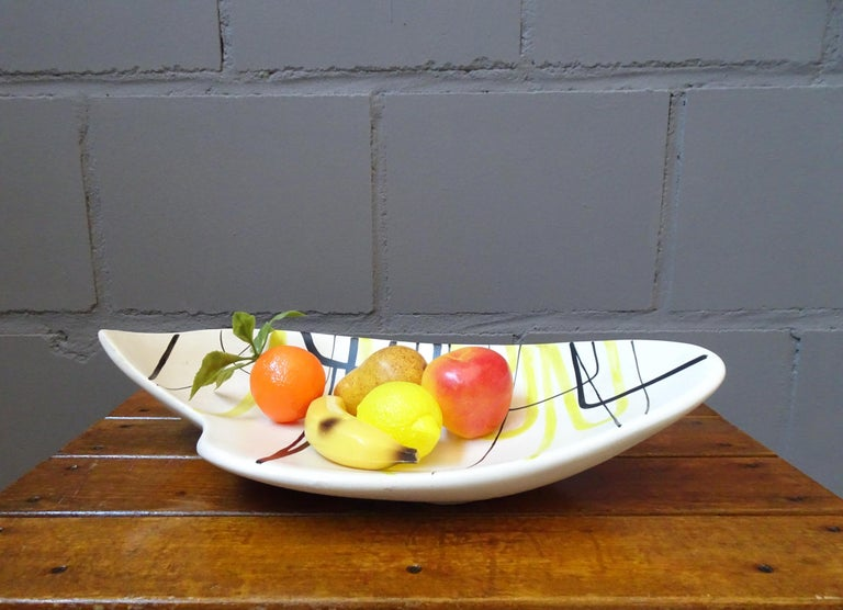 Hand-Crafted Midcentury Signed Roger Capron Ceramic Bowl, Center Piece, Vallauris, 1950s For Sale