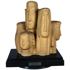 Midcentury Signed Sculpture Family