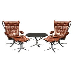 Midcentury Sigurd Ressell Chrome and Leather Falcon Lounge Set for Vatne Møbler