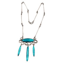 Mid-Century Silver Necklace with Electric Blue Glass Pendant
