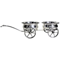 Mid-Century Silver Plated Figural Wine Bottle Wagon or Coaster Set