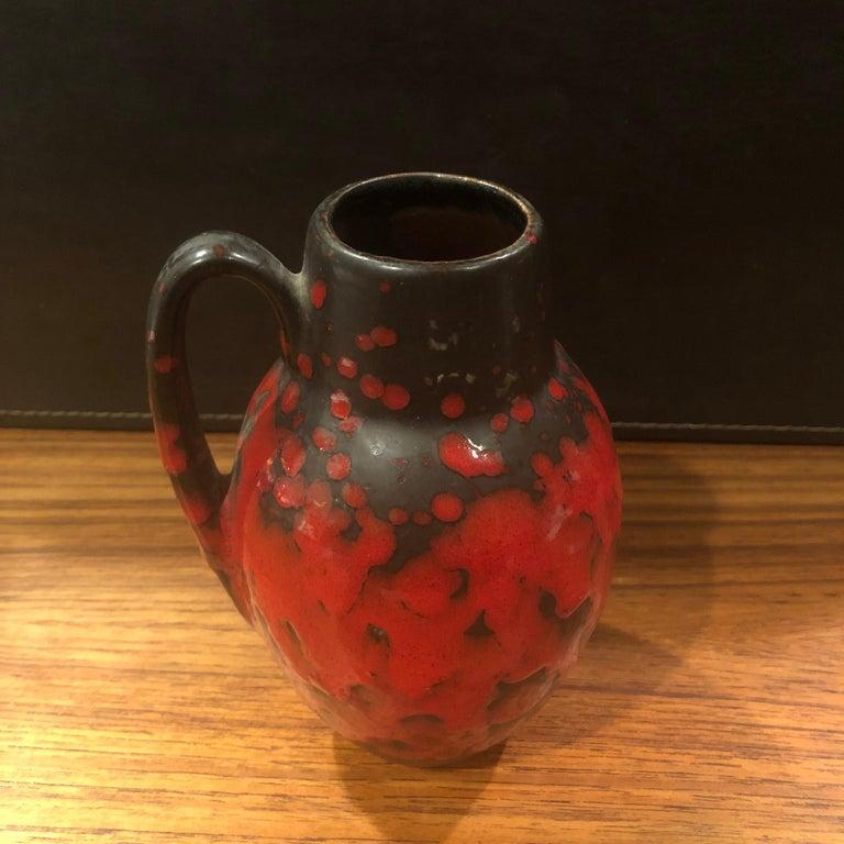 20th Century Midcentury Single Handle Lava Glazed Vase For Sale