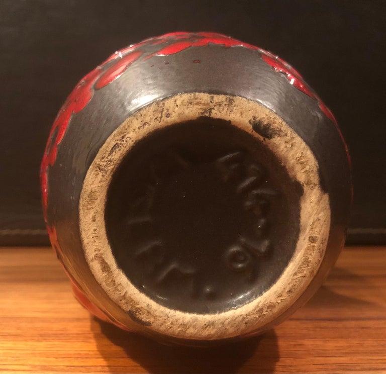 Pottery Midcentury Single Handle Lava Glazed Vase For Sale