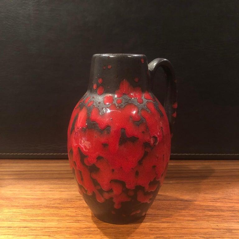 Midcentury Single Handle Lava Glazed Vase For Sale 1