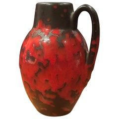 Midcentury Single Handle Lava Glazed Vase