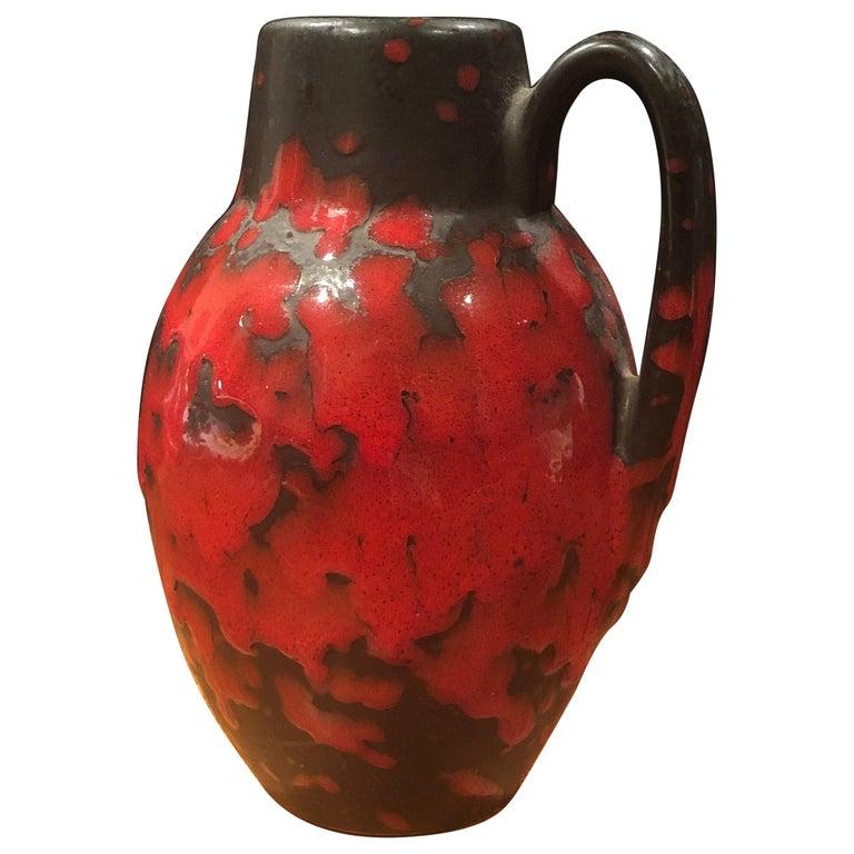 Midcentury Single Handle Lava Glazed Vase For Sale