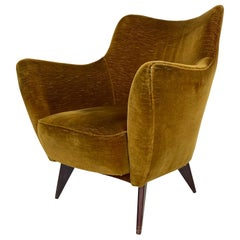 Mid Century Single Velvet 'PERLA' Armchair by G. Veronesi for ISA, Italy, 1950s