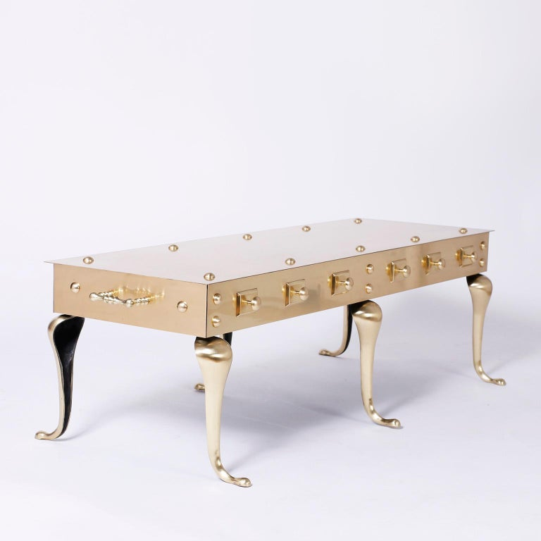 Queen Anne Midcentury Six Legged Brass Coffee or Cocktail Table For Sale