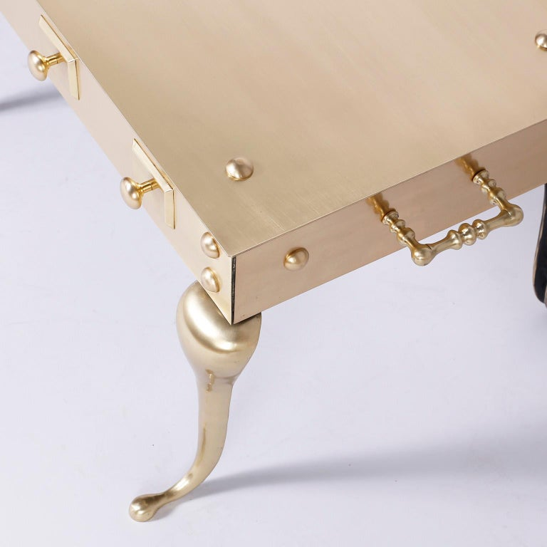 Midcentury Six Legged Brass Coffee or Cocktail Table In Good Condition For Sale In Palm Beach, FL