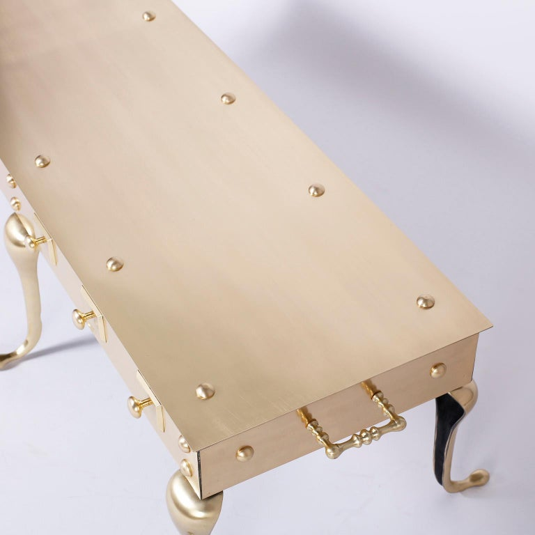 Midcentury Six Legged Brass Coffee or Cocktail Table For Sale 1