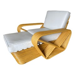 Mid Century Six-Strand Square Pretzel Rattan Chaise Lounge Chair