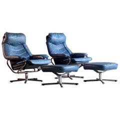 Midcentury Skoghaug Industri Leather Armchairs & Footstools Norway, circa 1970