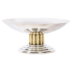 Mid Century Skyscraper Art Deco Style Silverplate and Gilt Dish by Puiforcat