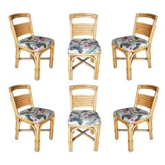 "Midcentury ""Slat Back"" Rattan Dining Side Chair, Set of Six"