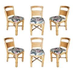 "Midcentury ""Slat Back"" Rattan Dining Side Chair, Set of Six"