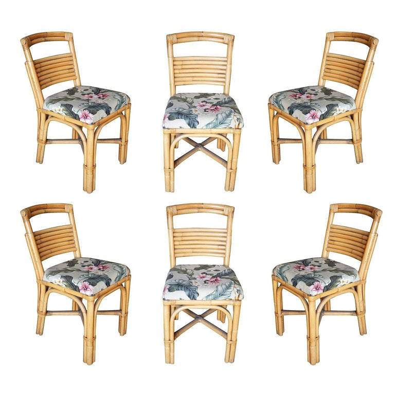 """Midcentury """"Slat Back"""" Rattan Dining Side Chair, Set of Six For Sale"""