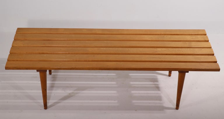 Mid Century Slat Bench Coffee Table Made in Yugoslavia For Sale 3