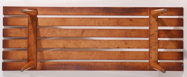 Mid Century Slat Bench Coffee Table Made in Yugoslavia For Sale 4