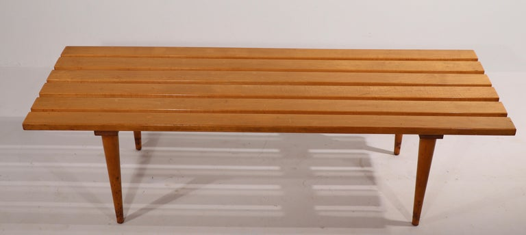 Mid-Century Modern Mid Century Slat Bench Coffee Table Made in Yugoslavia For Sale