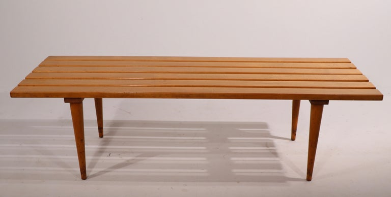 Macedonian Mid Century Slat Bench Coffee Table Made in Yugoslavia For Sale