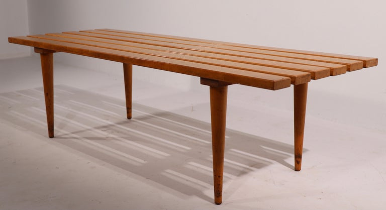 Mid Century Slat Bench Coffee Table Made in Yugoslavia In Good Condition For Sale In New York, NY