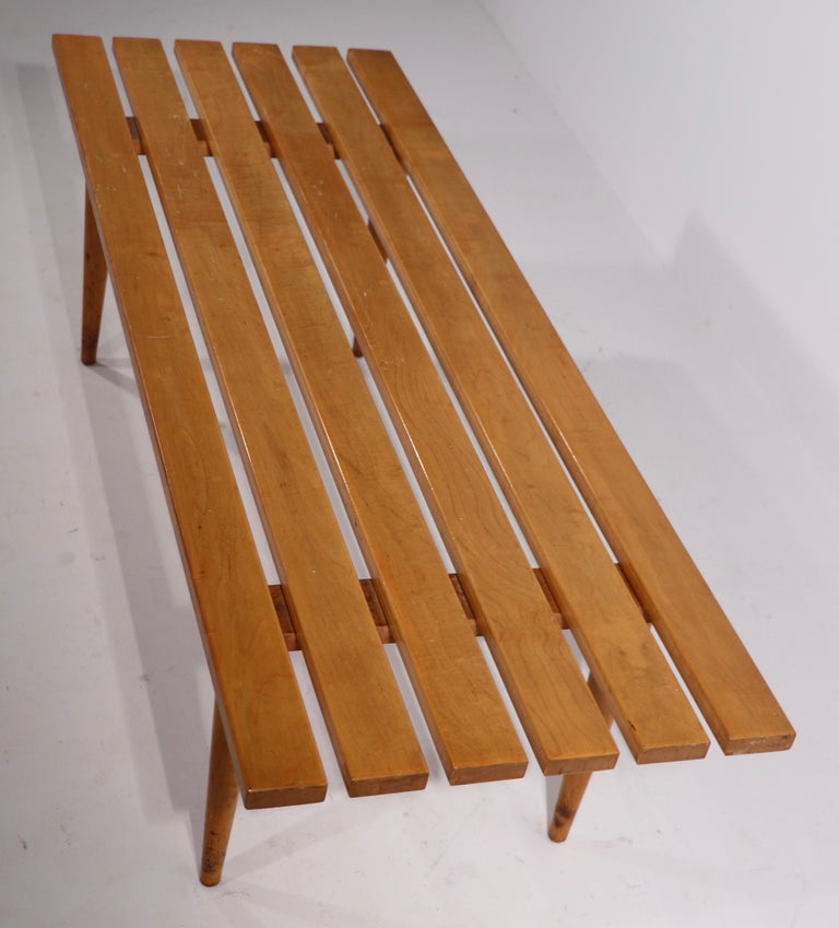 20th Century Mid Century Slat Bench Coffee Table Made in Yugoslavia For Sale