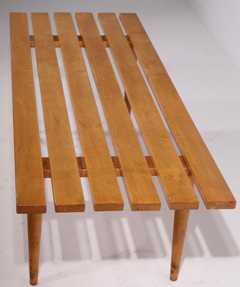 Maple Mid Century Slat Bench Coffee Table Made in Yugoslavia For Sale