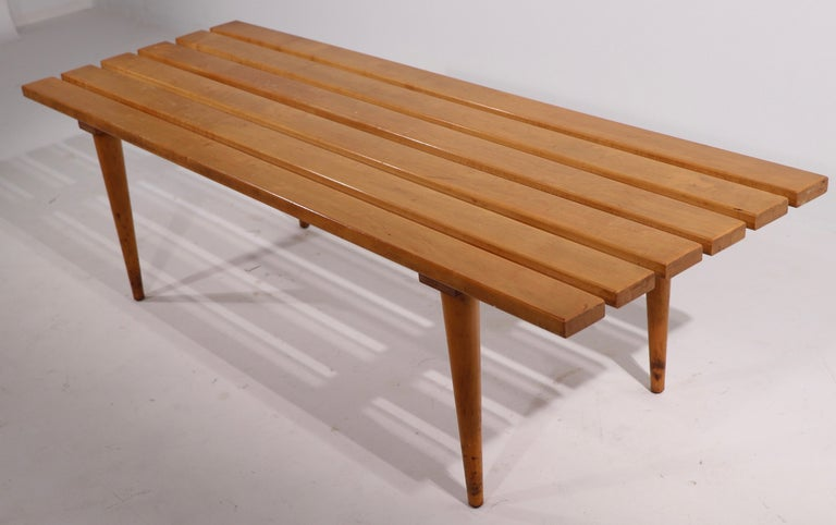 Mid Century Slat Bench Coffee Table Made in Yugoslavia For Sale 1