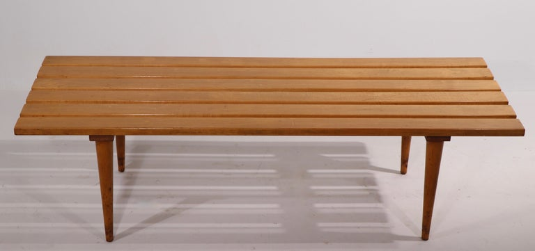 Mid Century Slat Bench Coffee Table Made in Yugoslavia For Sale 2
