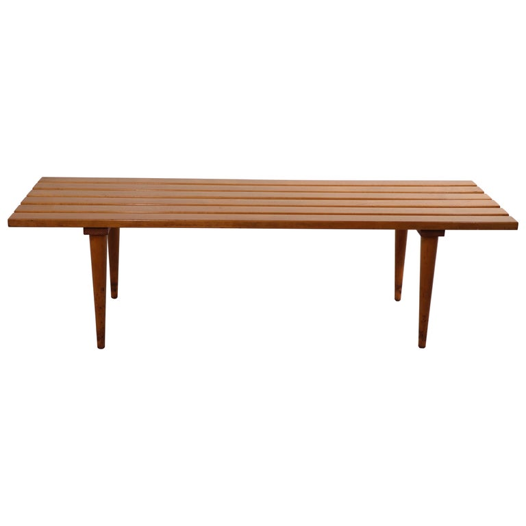 Mid Century Slat Bench Coffee Table Made in Yugoslavia For Sale
