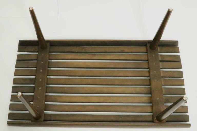 Mid Century Slat Bench Table For Sale 3