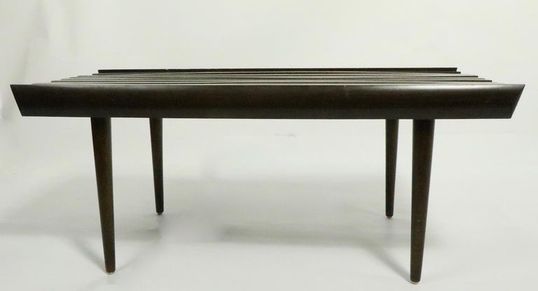 Wood Mid Century Slat Bench Table For Sale