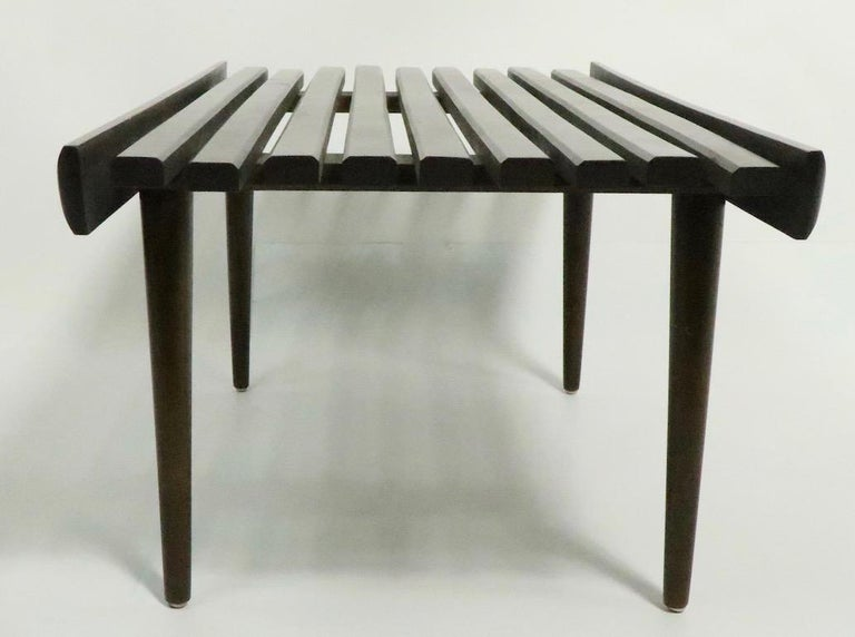 Mid Century Slat Bench Table For Sale 1