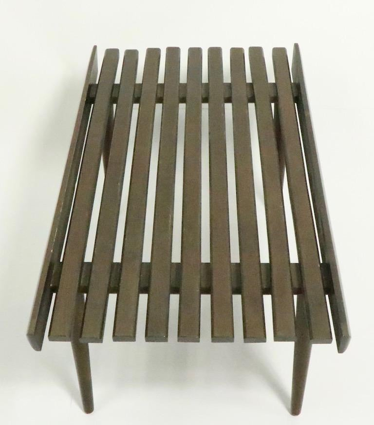 Mid Century Slat Bench Table For Sale 2