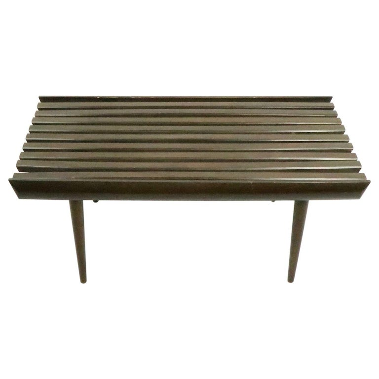 Mid Century Slat Bench Table For Sale
