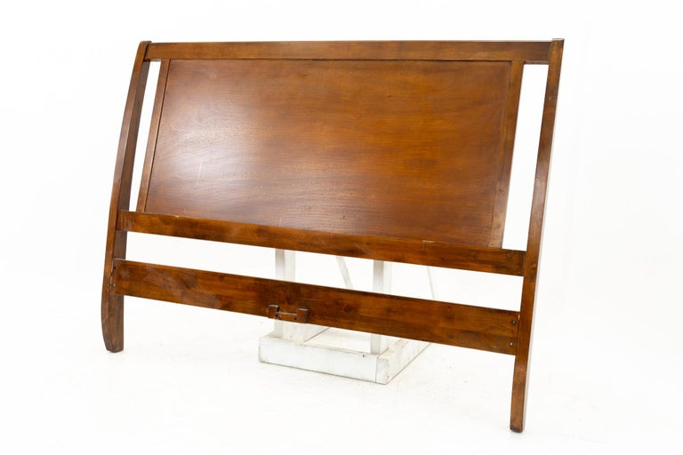 Mid century sleigh walnut queen headboard This headboard is 56.75 wide x 3 deep x 43.5 inches high  All pieces of furniture can be had in what we call restored vintage condition. That means the piece is restored upon purchase so it's free of