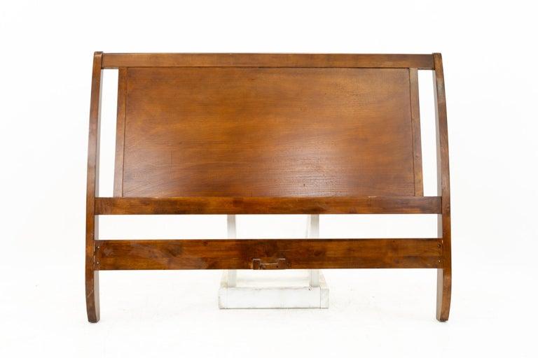 Mid-Century Modern Mid Century Sleigh Walnut Queen Headboard For Sale