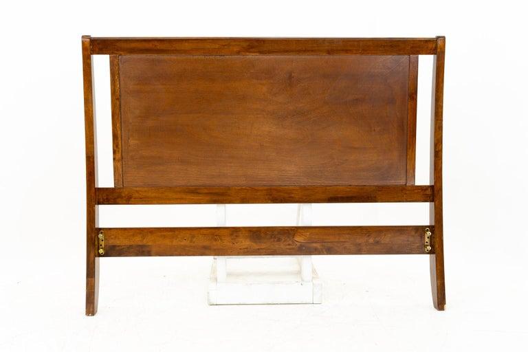 American Mid Century Sleigh Walnut Queen Headboard For Sale