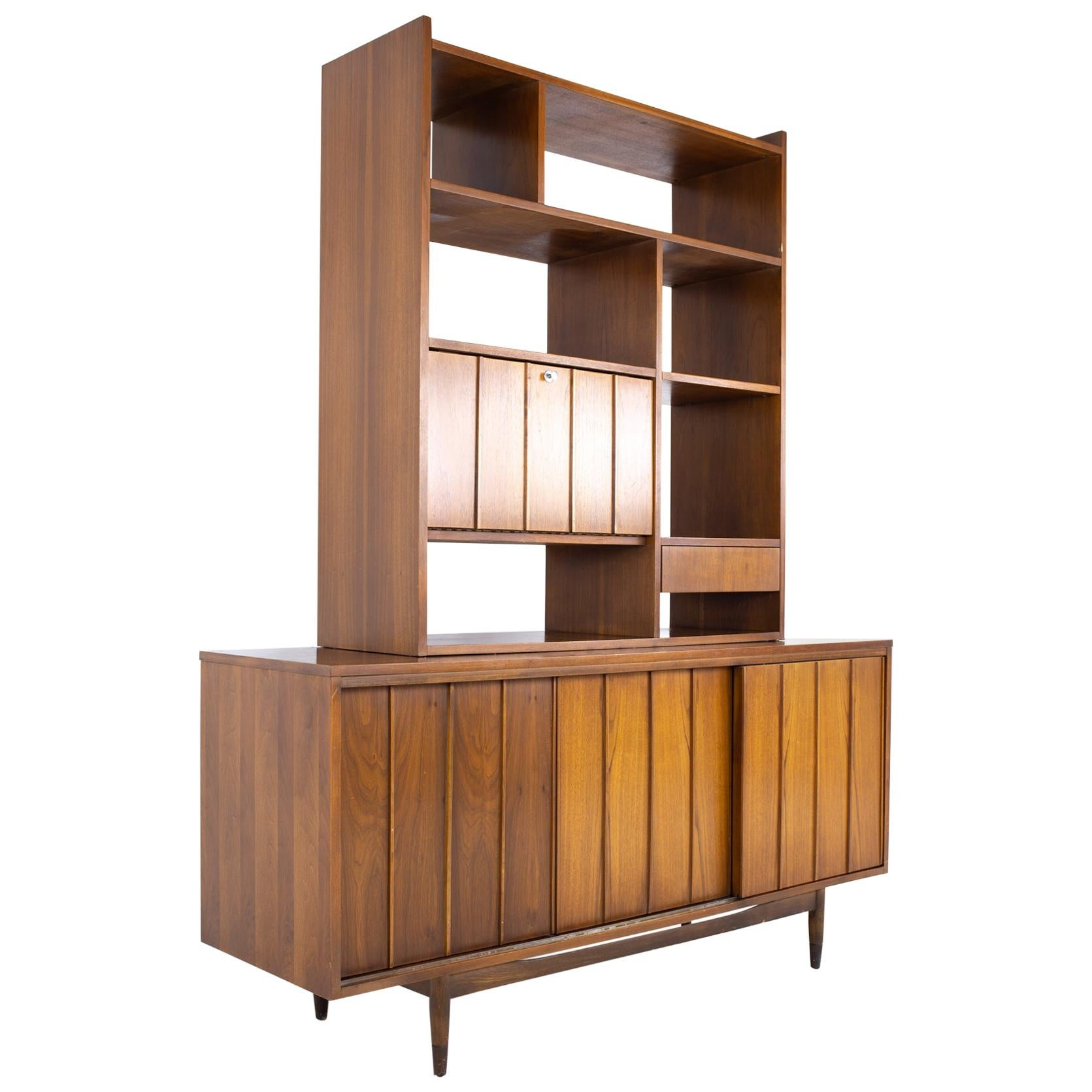 Mid Century Sliding Door Credenza with Bookcase Hutch
