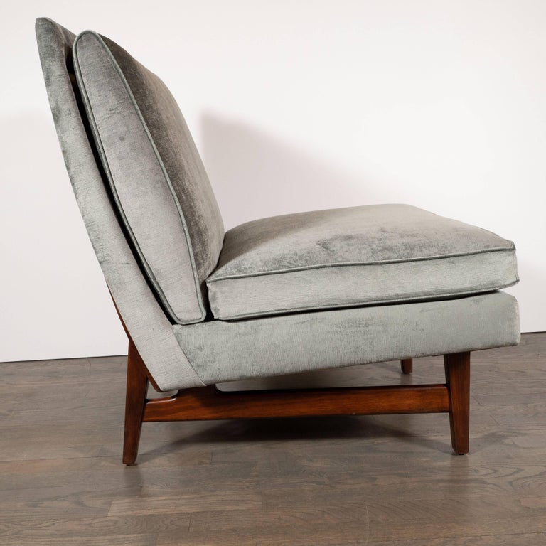 Danish Midcentury Slipper Chair in Hand Rubbed Walnut & Sage Velvet by Jens Risom For Sale
