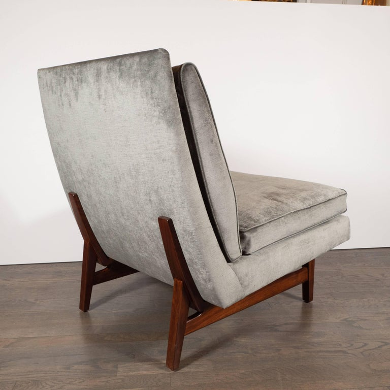 Mid-20th Century Midcentury Slipper Chair in Hand Rubbed Walnut & Sage Velvet by Jens Risom For Sale