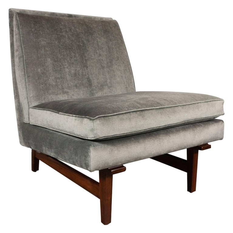 Midcentury Slipper Chair in Hand Rubbed Walnut & Sage Velvet by Jens Risom For Sale