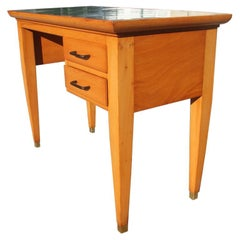 Midcentury Small Desk in Beechwood with Green Laminate Top Brass Foot