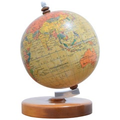 Midcentury Small Globe with Wooden Base, by Prof Paul Rath, 1950s