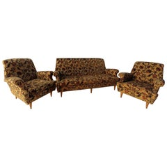 Midcentury Sofa and Two Armchairs in Floral Fabric and Wood, Italy Set of 3