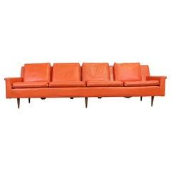 "Mid-Century Elongated Orange  102"" Sofa Milo Baughman for Thayer Coggin"